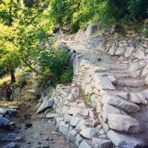 About 3.5mi into the John Muir trail in Yosemite, June 2014. The first 4 or so miles of the hike consisted of climbing up stone stairs like these, some more steep than others.