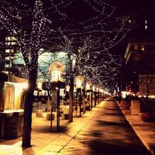 16th St Mall at night in Denver, CO.