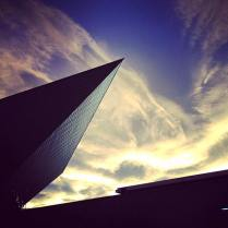 Looking up to part of the Denver Art Museum building in Colorado. The series of photos I'll be posting over the next few days will be a collection from my two most recent visits to the #milehighcity. One of the days I was shooting there, I got unbelievably lucky with the light and slowly setting sun. The mix of colors blending with the clouds created one of the most beautiful skies I've ever gotten the chance to capture.
