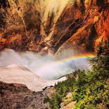 View of a rainbow being created in the mist from the river while on the trail (or should I say intimidatingly steep stairs) heading down to Lower Falls in Yellowstone. Did this the same day as the hike mentioned in the previous photo.