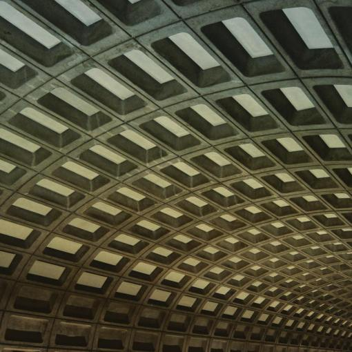 A close-up shot of the roof over the Gallery Place metro stop in DC.
