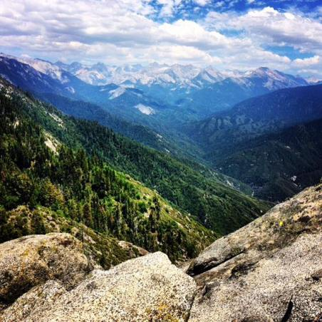View from the top of Moro Rock in June 2013 at Sequoia National Park. Had a brief bout of vertigo on the way back down but it was more than worth the view.
